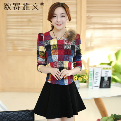 2014 autumn and winter new Korean version of Slim round neck long-sleeved fake two color Plaid Dress A word bottoming female
