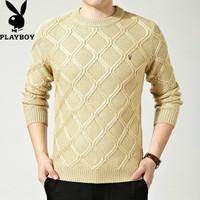 中年男士羊毛衫男冬季圆领男士羊绒衫加厚休闲毛衣菱形格针织衫