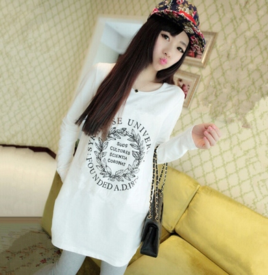 2014 Hitz Korean yards long section of loose letters plus thick velvet long-sleeved t-shirt primer shirt female tide