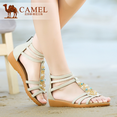 Camel Camel sandals 2014 summer new bohemian leather open toe flat sandals women flat heel