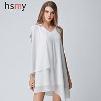 2015夏季新款女装 欧美时尚宽松大码纯色雪纺不规则无袖连衣裙