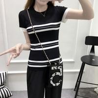 黑白条纹针织衫女时尚修身圆领短款夏季新品简约休闲冰丝短袖上衣