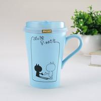创意个性陶瓷杯子 办公室水杯带盖勺 送男女朋友同学闺蜜生日礼物