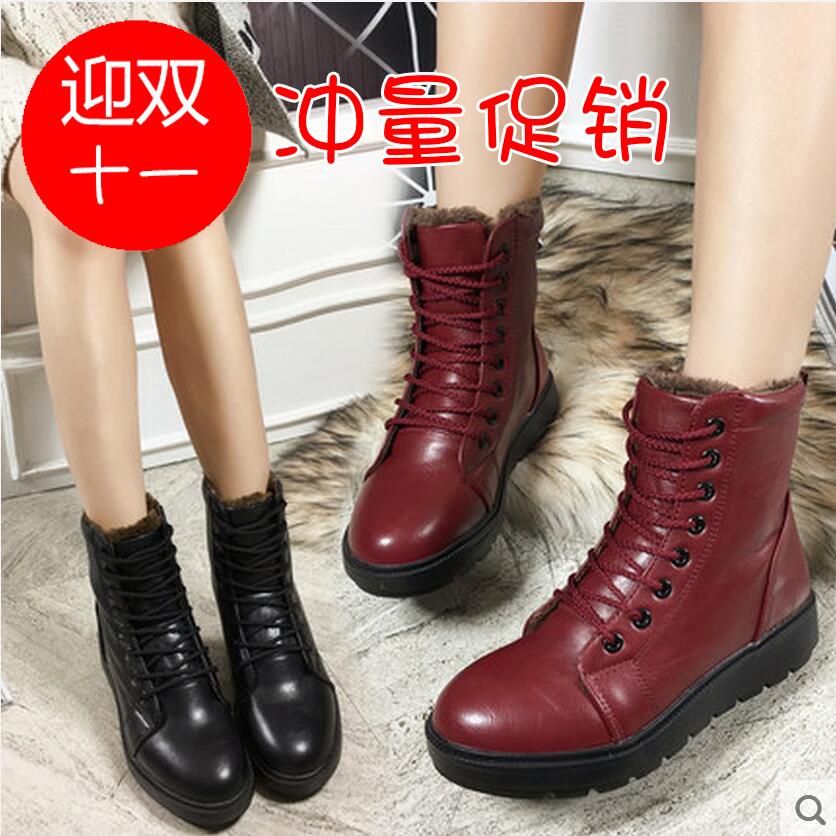 翡纳思冬季女靴欧美休闲女系带马丁靴中筒靴厚底平底加绒棉靴子