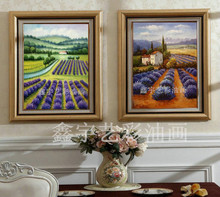 Xin yu arts pure hand-painted oil paintings of contemporary sitting room adornment colour painting framed paintings hangs a picture package mail lavender scenery