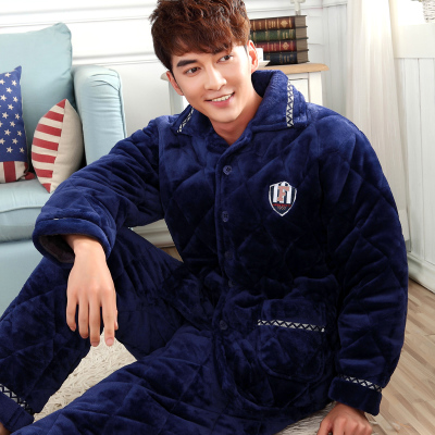 Winter coral velvet quilted pajamas long sleeve men's triple thick quilted flannel pajamas men tracksuit jacket