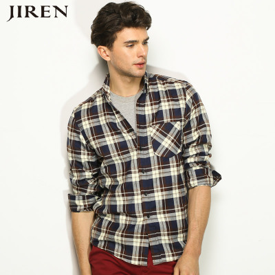 Yoshihito Autumn 2014 new wave of Korean men's casual long-sleeved plaid shirt shirt shirt Slim Brushed