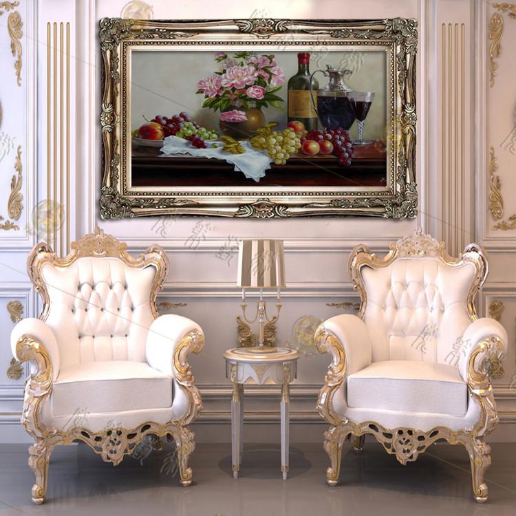 欧式油画美画正品纯手绘横版客厅酒店餐厅玄关装饰画风水静物油画图片