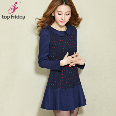 topfriday dress new autumn and winter 2014 women's large size Slim thin package hip long skirt