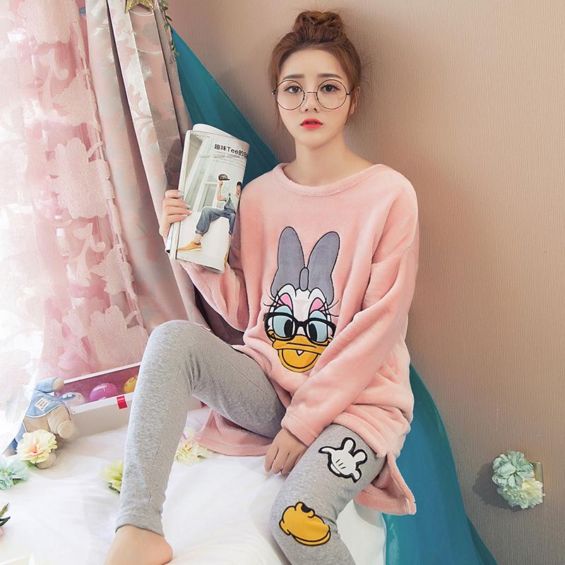 睡衣女冬加厚珊瑚绒长袖圆领套头法兰绒韩版情侣卡通家居服套装