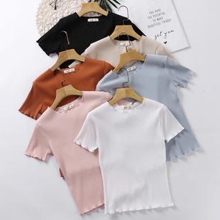 夏季白色T恤女显瘦短款上衣紧身薄款打底衫木耳边短袖针织衫