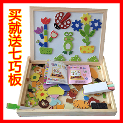 Free shipping three children over 4 5-6 fight music baby toys 1-3 years old children's educational building blocks wooden puzzle intelligence