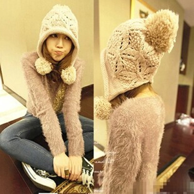 Lovely ovo Sphere ear cap warm knitted wool hat Miss Han Ban Korea autumn and winter days of winter cold