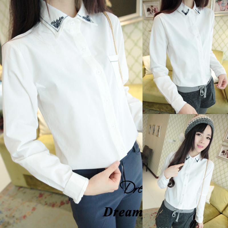 женская рубашка 2014 осенью студент искусства белый тонкий пиджак рубашка Хань вентилятор свежую рубашку вышивка длинный рукав рубашки женщин