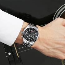 绿茵 手表男 男士运动石英表 防水时尚潮流夜光精钢男表手腕表