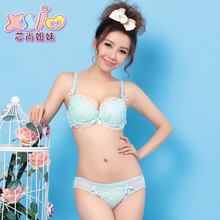 Authentic Japanese chiffon embroidery lovely sweet girl sexy underwear gathered little ladies bra set