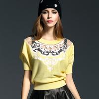 2015春新款镂空亮色蝙蝠袖长袖羊毛衫女 棉线短袖时尚女装上衣卓