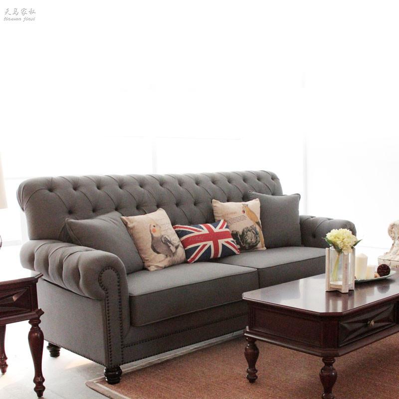 美式乡村布艺组合沙发法式高背简易实木家具酒店休闲会所接待沙发