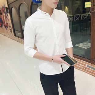 秋季衬衫男士短袖青少年潮流立领7分衬衣纯白色中袖