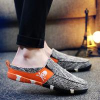夏季帆布鞋低帮韩版透气一脚蹬懒人鞋男鞋子学生布鞋男士休闲板鞋