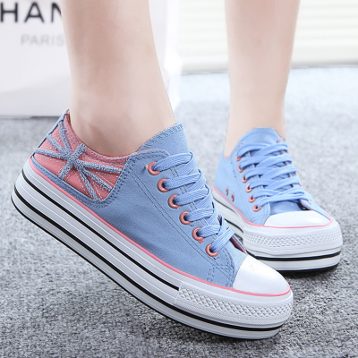 If Ning Chunqiu season Genuine female models canvas shoes Korean college students wind casual shoes breathable lace women shoes