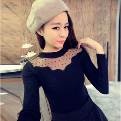 Autumn and winter bottoming shirt was thin gauze hedging hollow long-sleeved sweater autumn and winter wave point lace long-sleeved t-shirt shirt