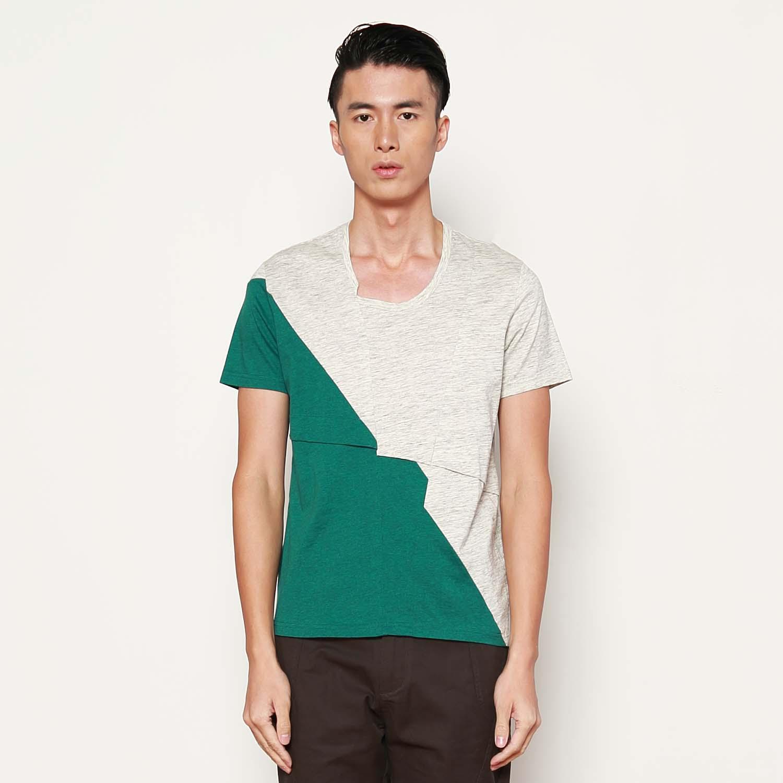热销t恤速写男装croquis纯色拼接纯棉短袖t恤9246449