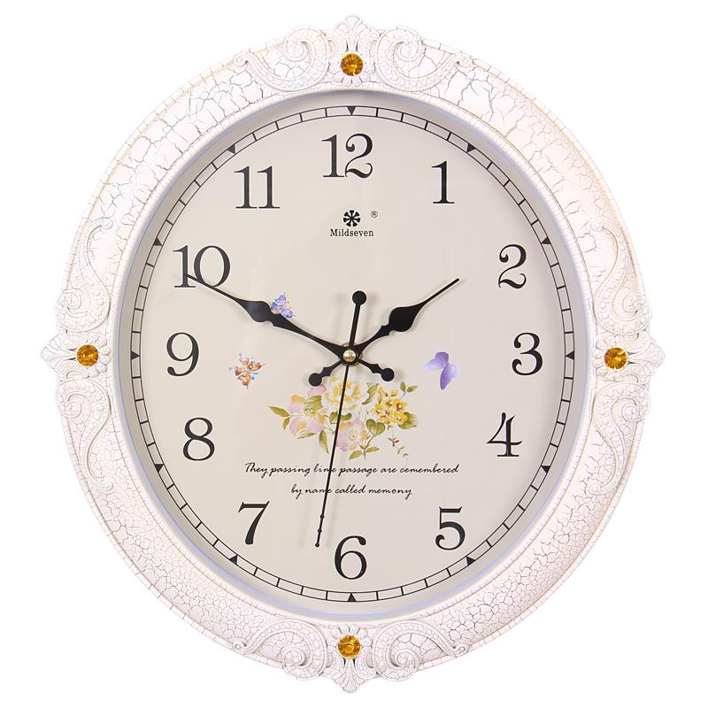 七王星14英寸创意圆形挂钟扫描静音钟表客厅卧室办公石英钟