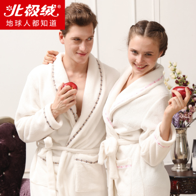 48.9 Beiji Rong autumn and winter pajamas couple photographed couple coral velvet robe nightgown bathrobe Men Women