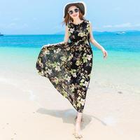 夏季雪纺印花连衣裙中长款韩版无袖长裙波西米亚背心裙修身沙滩裙