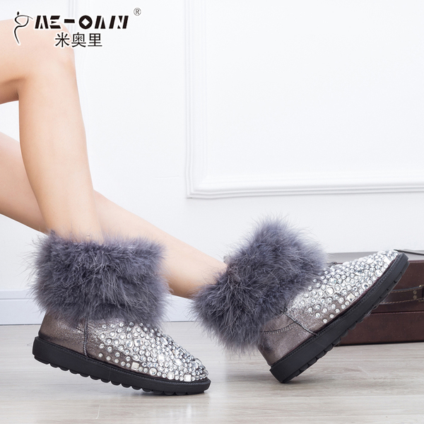 Miory new ostrich feather rhinestone thick winter snow boots flat boots fashion princess cotton boots shoes