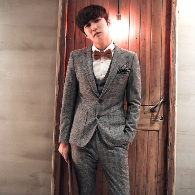 Mr. Jiang Nan Men England Tide brand men's woolen suits Korean Slim minimalist big plaid suit
