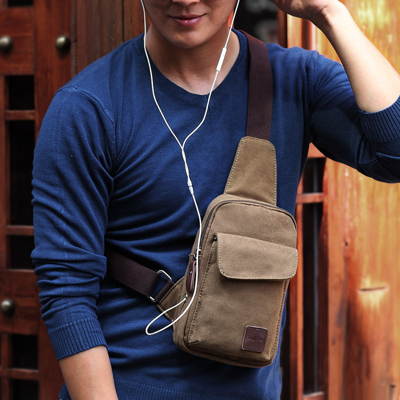 牧霖枫帆布男包 男士胸包 夏天休闲小包包 韩版潮 单肩背包运动包