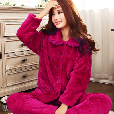 Ms. Winter sleeved flannel pajama pants thick coral velvet tracksuit XL cartoon pajamas