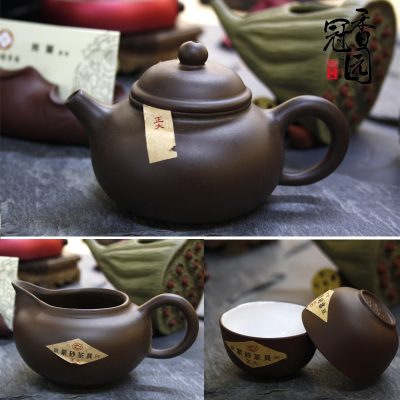 Zhengda purple sand tea set on sale A complete set of kung fu tea set manual ores are recommended Pot of stone gourd ladle manual
