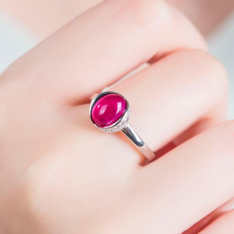 非常泰S925银合成红宝石戒指女日韩复古时尚饰品食指简约活口指环图片