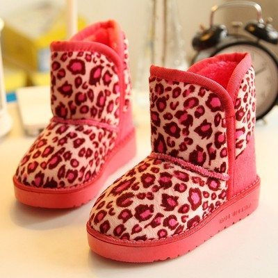 2014 winter new children's snow boots leopard shoes boots boys girls big boy princess padded high boots