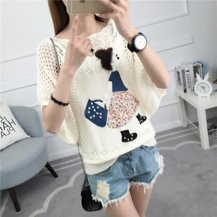 2017夏季新款时尚韩版针织衫薄款宽松镂空百搭套头蝙蝠袖女T恤潮