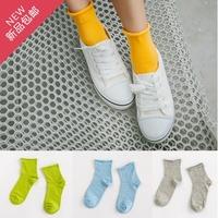 袜子女 糖果色纯棉女袜 松口卷边中筒学生袜月子袜韩国堆堆袜薄款