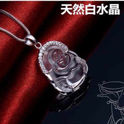Natural white crystal pendant necklace men and ladies S925 sterling silver jewelry clavicle Buddha head pendant chain to send a couple