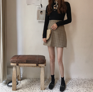 秋季女装小清新高腰显瘦短裙A字裙学生百搭格子半身裙女