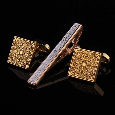 Hunting is still shipping box to send gold tie clip cufflinks crystal suit CUFFLINKS SET