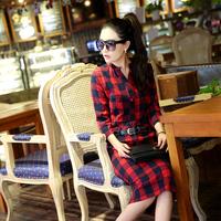 2016春款 圆领格子韩版一步裙时尚百搭七分袖修身显瘦连衣裙包邮