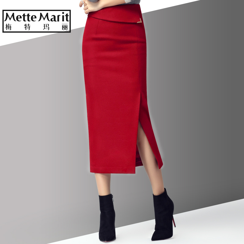 秋冬新款羊毛呢弹力开叉包臀长裙显瘦半身裙中长款加厚一步裙冬裙
