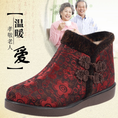 Winter plus velvet padded shoes old Beijing elderly lady shoes high-top shoes, flat middle-aged mom casual shoes