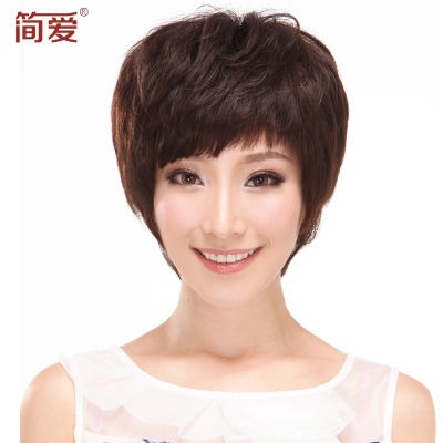 Wigs real hair wig short hair, short hair, hand-woven elderly lady mom short hair wig