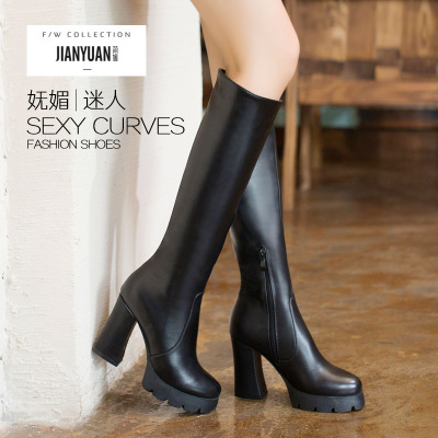 Jane Yuan 2014 new European and American high-heeled boots female knight boots winter boots high boots thick with heavy-bottomed boots
