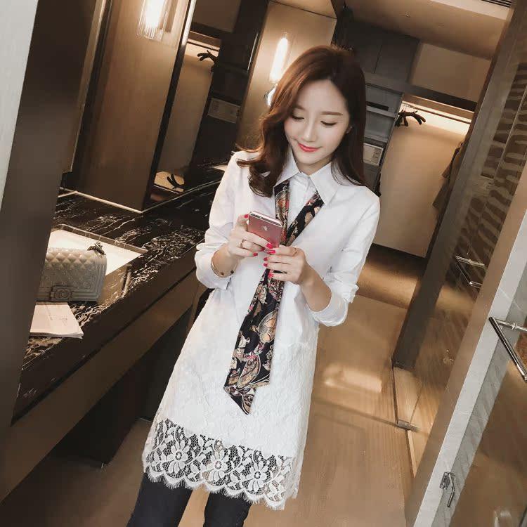 嫣嬛-el49新款2016春装韩版女装翻领拼接蕾丝长袖衬衫连衣裙A-17