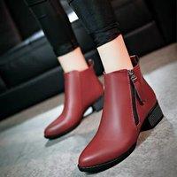 2015秋冬新款潮短靴马丁靴 短筒及踝靴女靴子 粗高跟尖头裸靴女鞋