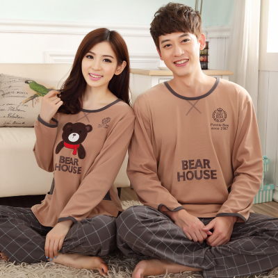 Couple autumn and winter long-sleeved cotton pajamas cartoon cotton suit autumn paragraph new men woman tracksuit